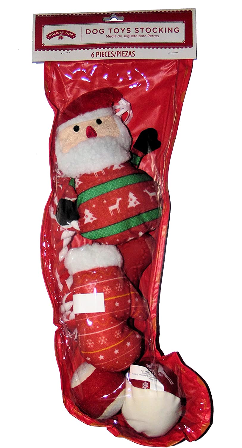 lovely Red Holiday Christmas Stocking with Dog Toys 6 pieces Balls, Rope, and Stuffed Chew Toys by Holiday Time