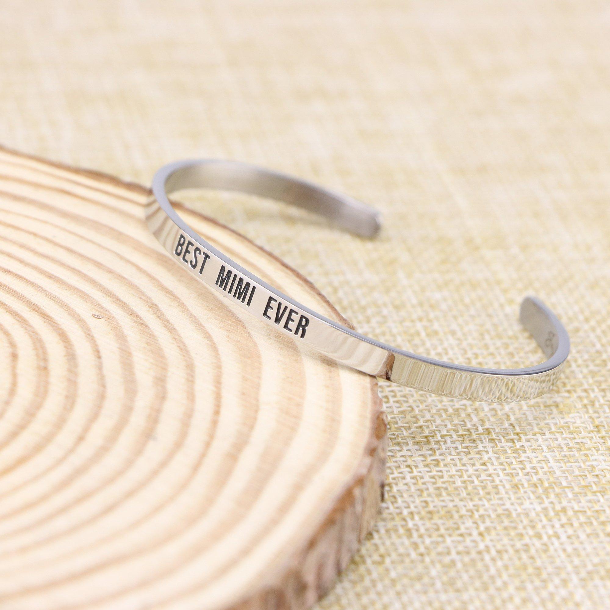 Joycuff Best Mimi Ever Bracelet Jewelry Gifts for Grandma Mantra Cuff Bracelets Bangle by Joycuff (Image #3)
