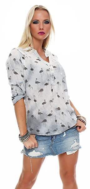 zarmexx Mujer viscosa Blusa Vintage Aspecto de manga larga túnica lentejuelas Camiseta Fischer Camisa Santic Batik