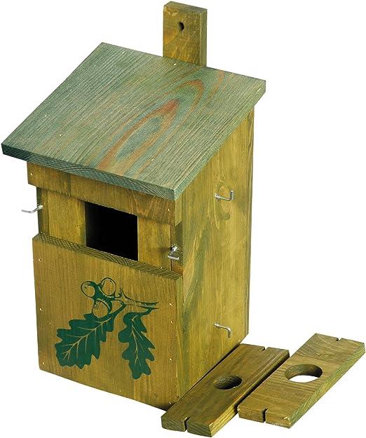 dobar 22157e - Caja Decorativa para Nido de pájaros (Madera de Pino, Madera Maciza), para jardín, balcón, 3 Orificios de Entrada Variables, diseño de Roble: Amazon.es: Productos para mascotas