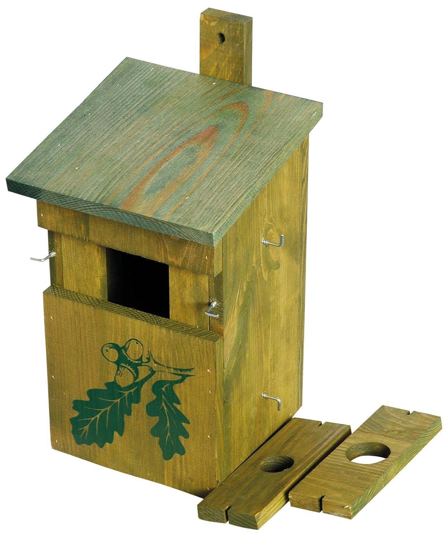 dobar 22157e - Caja Decorativa para Nido de pájaros (Madera de Pino, Madera Maciza), para jardín, balcón, 3 Orificios de Entrada Variables, diseño de Roble