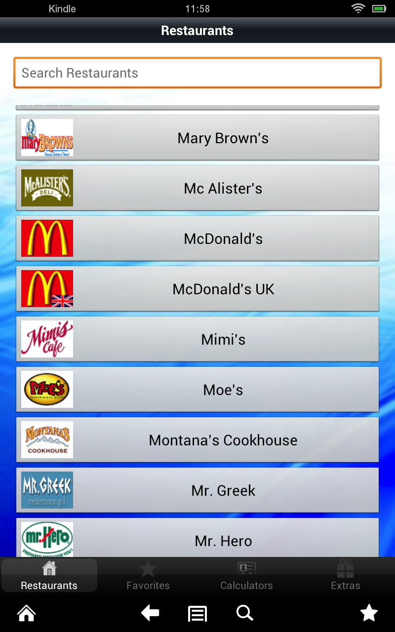 Restaurants nutrition fast food calories calculator - House garden nutrient calculator ...