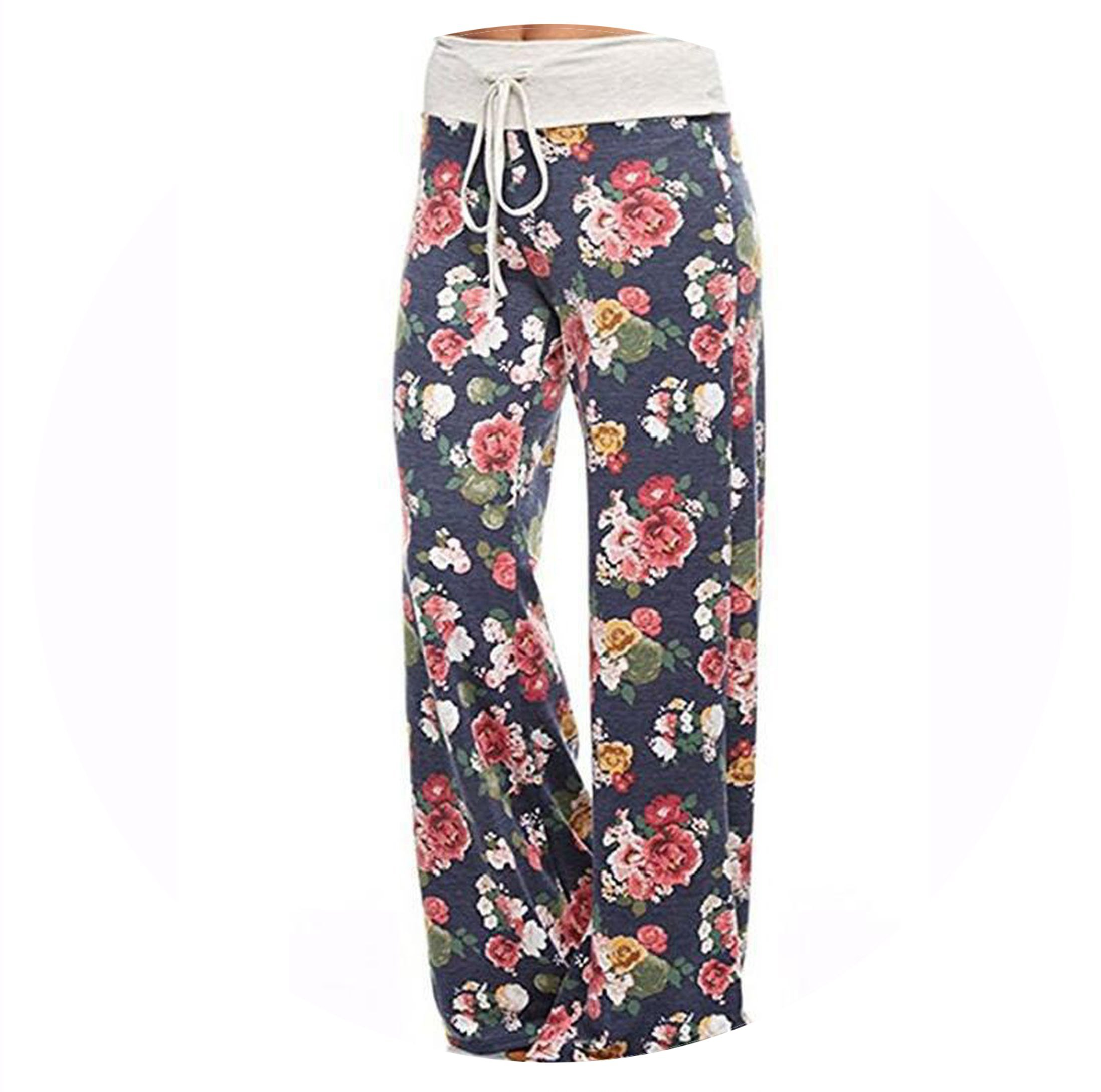 Fantasy-lilac Women's Printing high Waist Loose Casual Wide Leg Pants Casual Pants,18th Suit,L