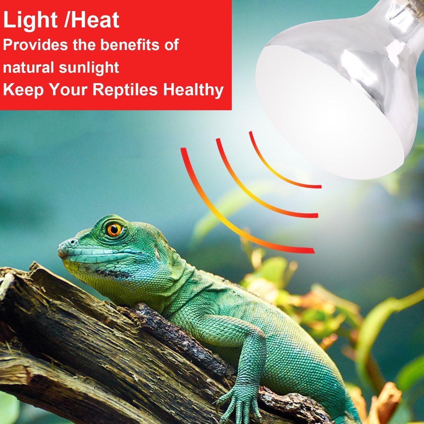 AIICIOO UVB UVA Bombilla Calor de Reptiles y Anfibios Promover la Síntesis D3 para Tortuga/Camaleón/Serpiente/Polluelo E27 220-240V 125W: Amazon.es: Productos para mascotas