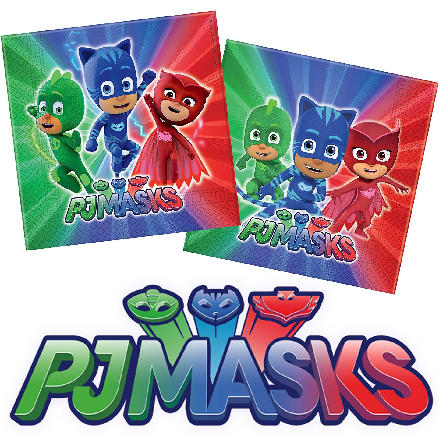 37 piezas Set de fiesta * PJ Máscaras de * con plato + taza + Servilletas + decoración//Pijama Héroes infantiles Cumpleaños Fiesta temática Globos: ...