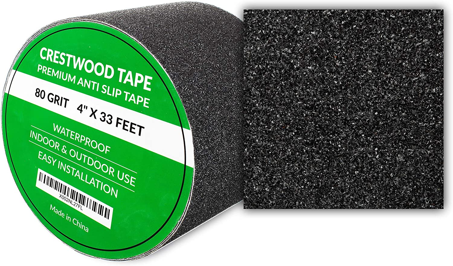"""Waterproof Non Slip Abrasive Adhesive for Indoor and Outdoor Use for Staircase High Traction and Strong Grip Tape for Stairs Heavy Duty Anti Slip Tape Walkway 4/"""" x 33 Feet Deck"""