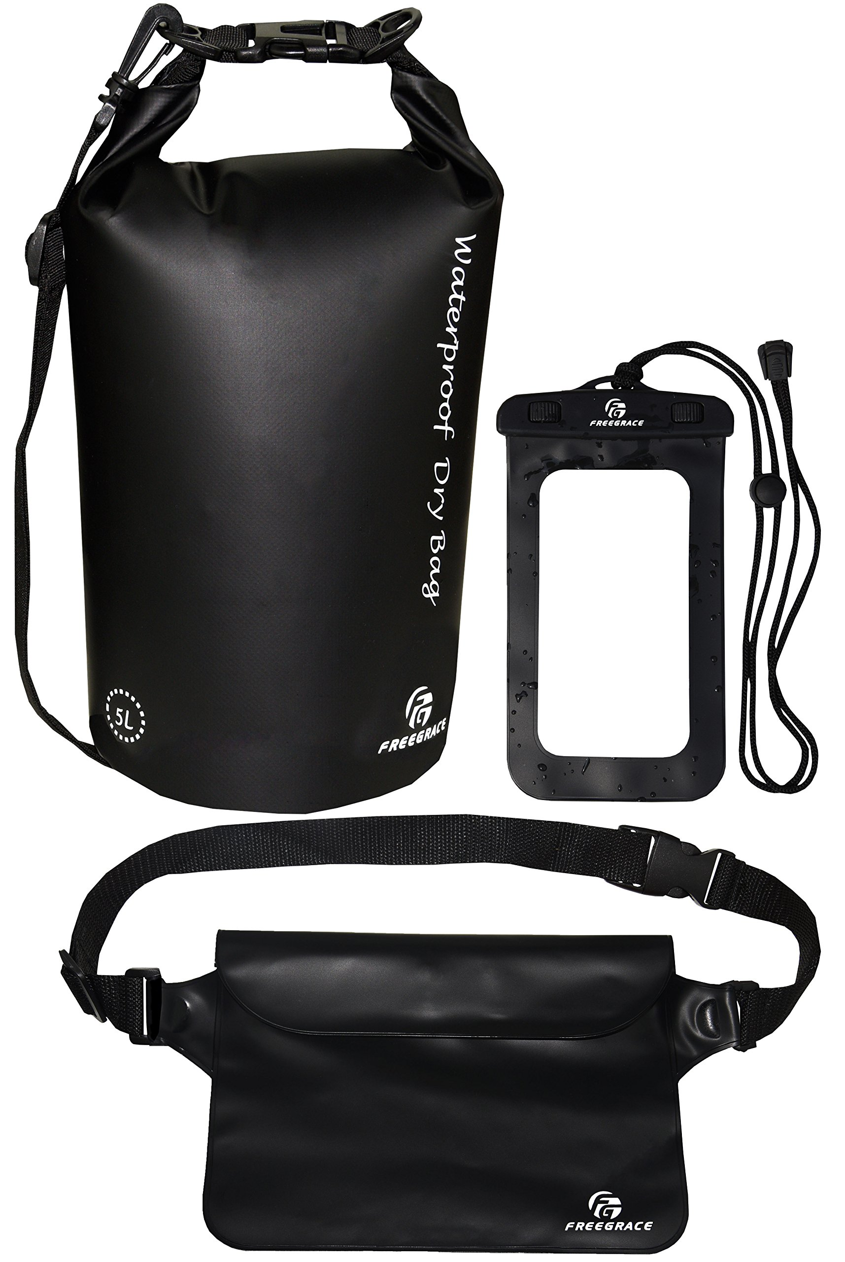 Freegrace Waterproof Dry Bags Set of 3 Dry Bag with 2 Zip Lock Seals & Detachable Shoulder Strap, Waist Pouch & Phone Case - Can Be Submerged Into Water - for Swimming (Black, 5L)