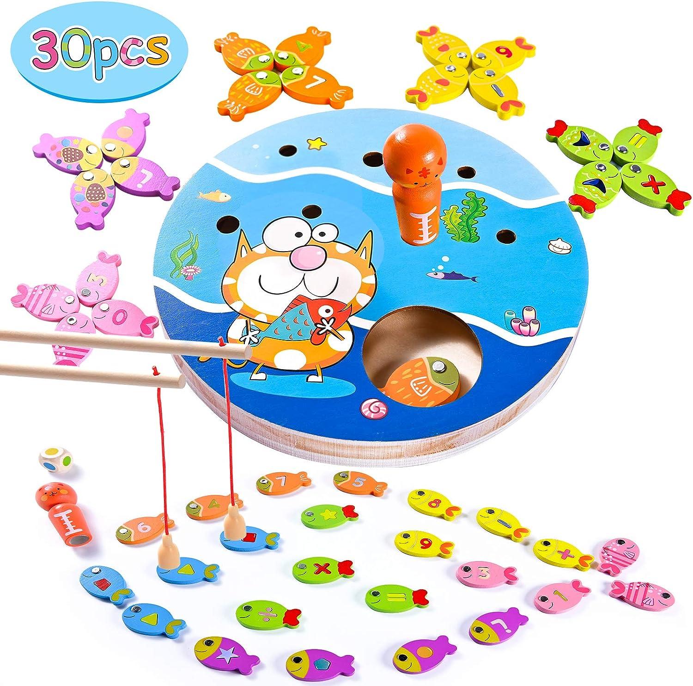 Joyjoz Juego de Pesca para Niños 4 en 1, Juguetes de Madera para Pescar 30 Piezas, Juego Magnético de Peces, Juguetes Montessori, Regalo Educativo para Niños de 3, 4 y 5 años