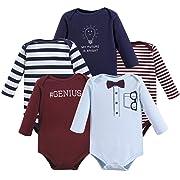 Little Treasure Unisex Baby Cotton Bodysuits, Genius 5Pk Long Sleeve, 0-3 Months (3M)