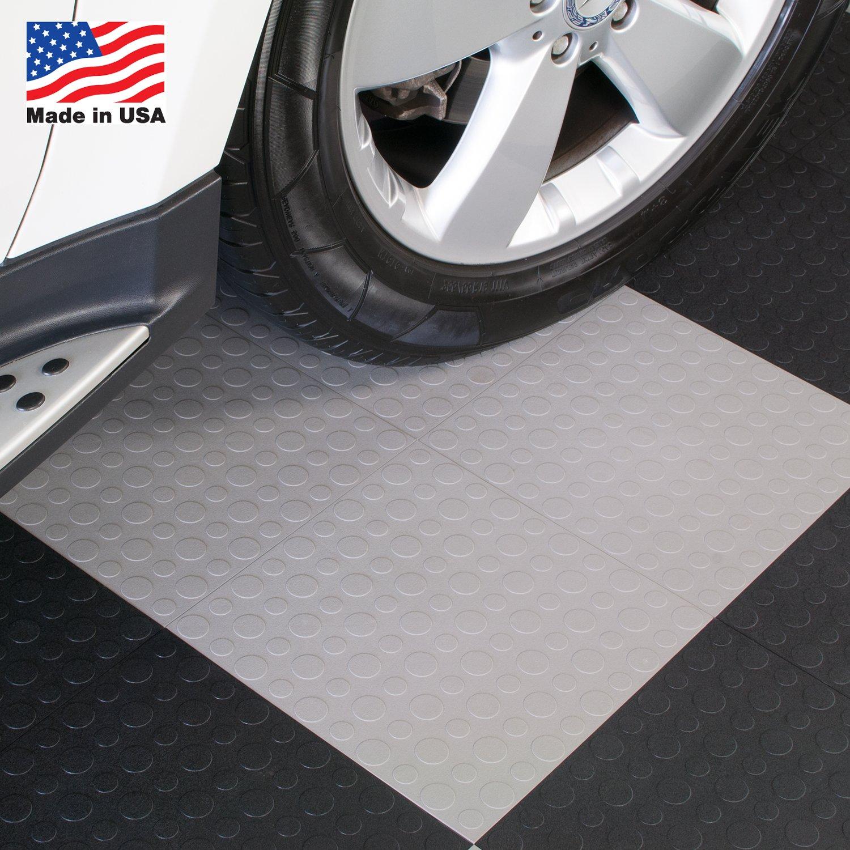 BlockTile B0US4630 Garage Flooring Interlocking Tiles Coin Top Pack, Gray,  30 Pack   Construction Tiles   Amazon.com