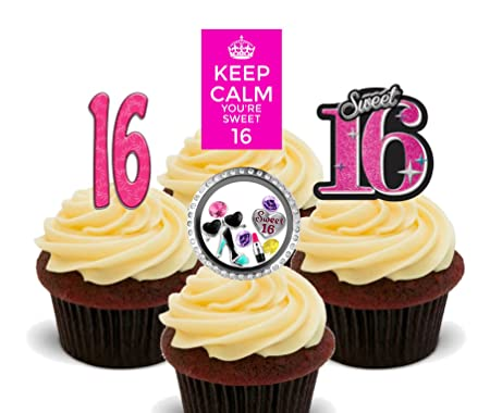 16th Birthday Girl Sweet 16 Edible Cupcake Toppers Standup Wafer