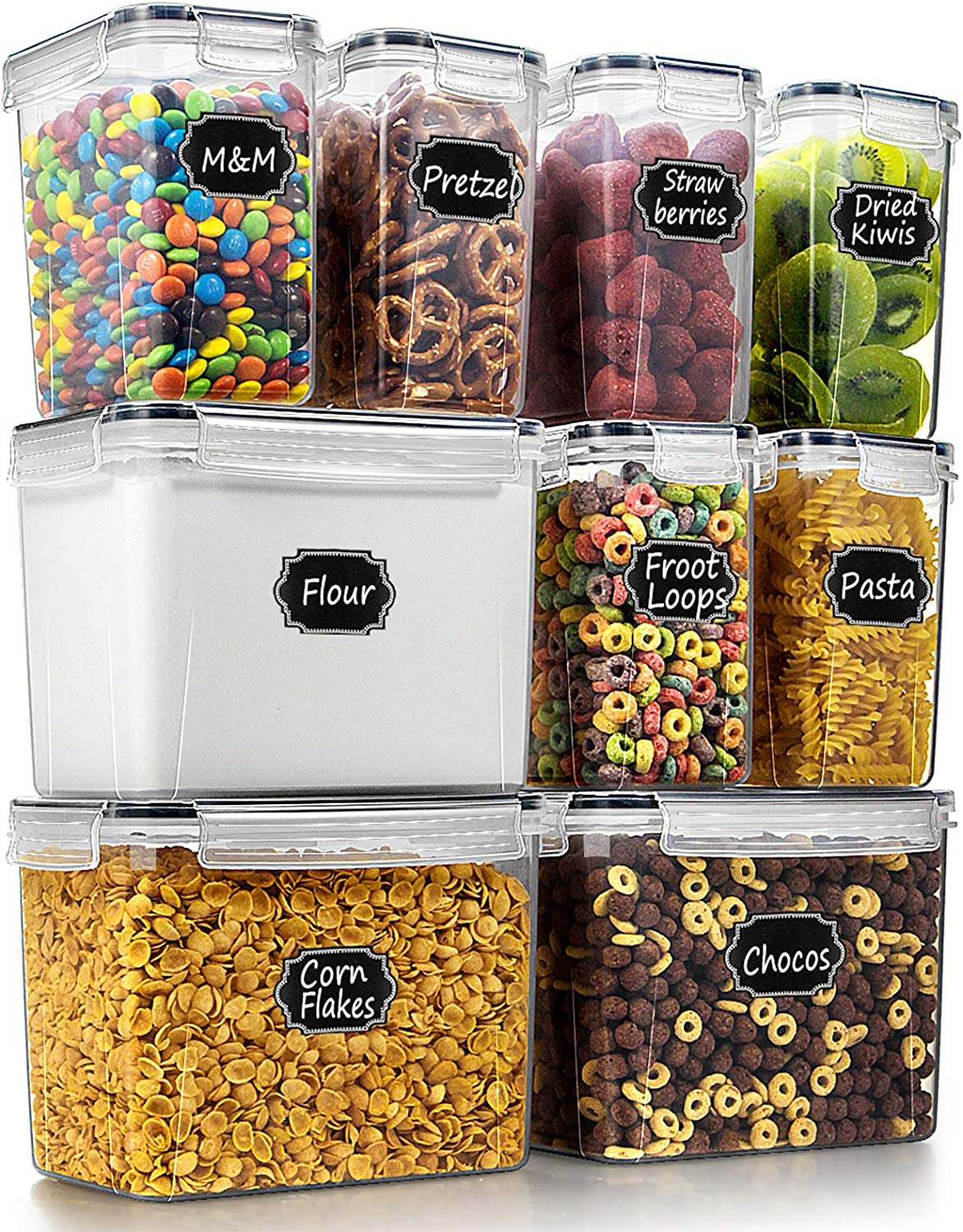 Wildone Food Storage Containers Set of 9 - Airtight Cereal & Dry Food Storage Containers for for Flour, Sugar, Baking Supplies, with 20 Chalkboard Labels & 1 Marker