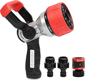 Eden 94806 7-Pattern Heavy Duty Metal Garden Hose Spray Nozzle with Quick Connector and Adapters Set, Fireman Style