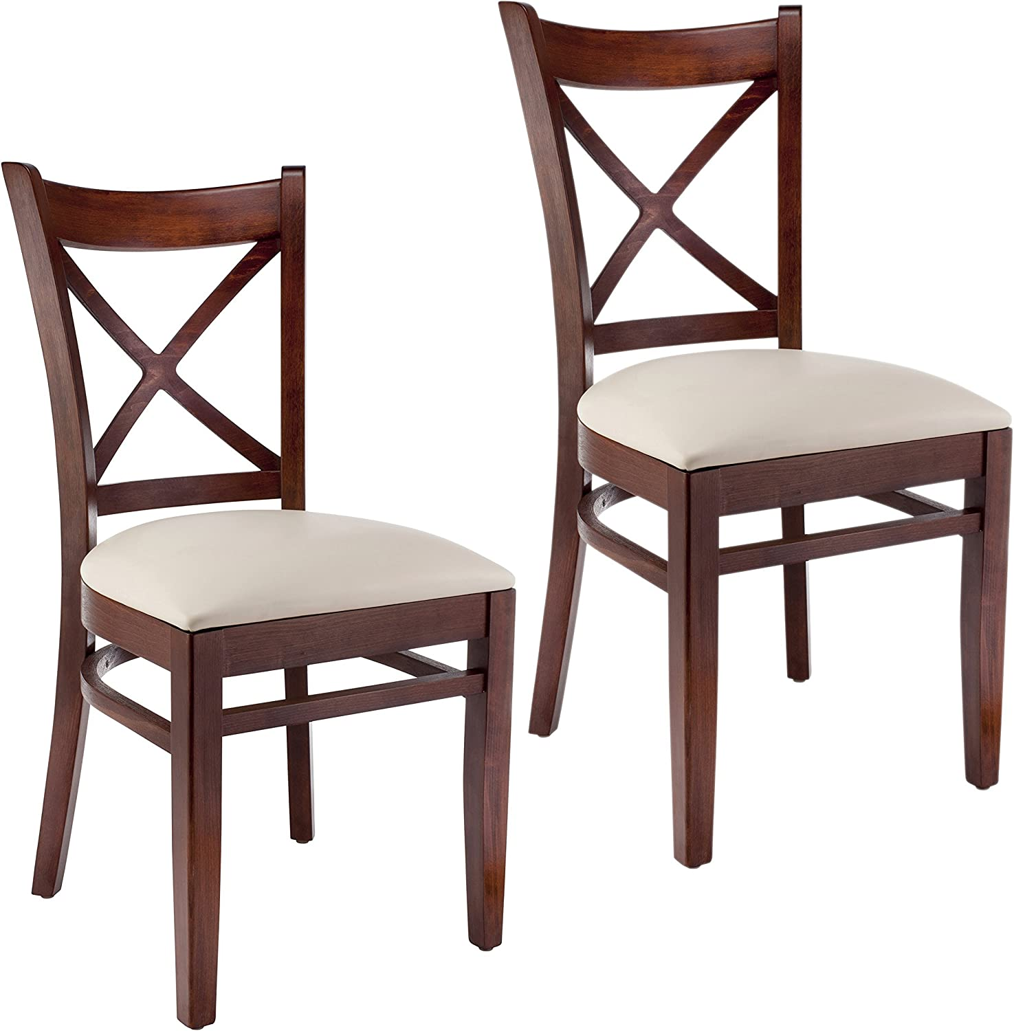 Beechwood Mountain BSD-106S-Mo Solid Beech Wood Side Chairs in Medium Oak for Kitchen Dining, Set of 2, NA