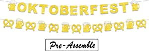 Oktoberfest Banner Gold Glitter Beer Mug Pretzels Sausage Picks for Beer Festival Theme Decor Cheers and Beers Bar Bunting Garland Party Decorations Supplies