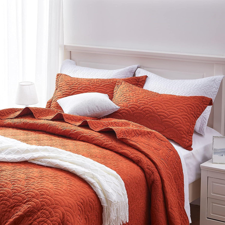 SunStyle Home Quilt Set Rust Lightweight Queen Bedspread Coverlet Set Cloud Pattern Burnt Orange