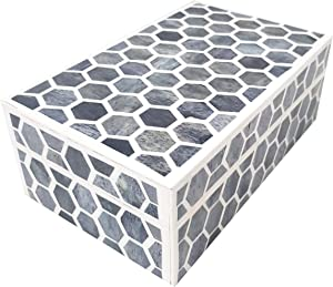 Antique Handcrafted Grey Bone Inlay Decorative Box Premium Home Decor Big storage box, 7X5X4 , Grey