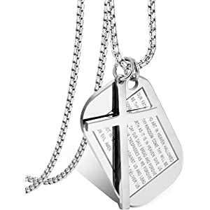 c12c4cea785e8a Necklaces & Pendants Jstyle Jewelry Mens Stainless Steel Simple Black Cross  Pendant Lords Prayer Necklace 22 24 30 Inch 50pe513V56
