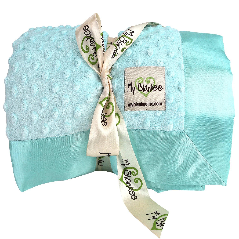 My Blankee Minky Dot Throw Blanket, Aqua, 52'' x 60''