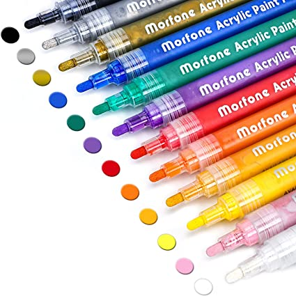 Set of 12 Colors Markers Water Based Paint Pen