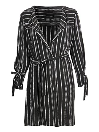 77d59581fae Lovedrobe GB Women s Black and White Stripe Duster Jacket Ladies Plus Size  16-26