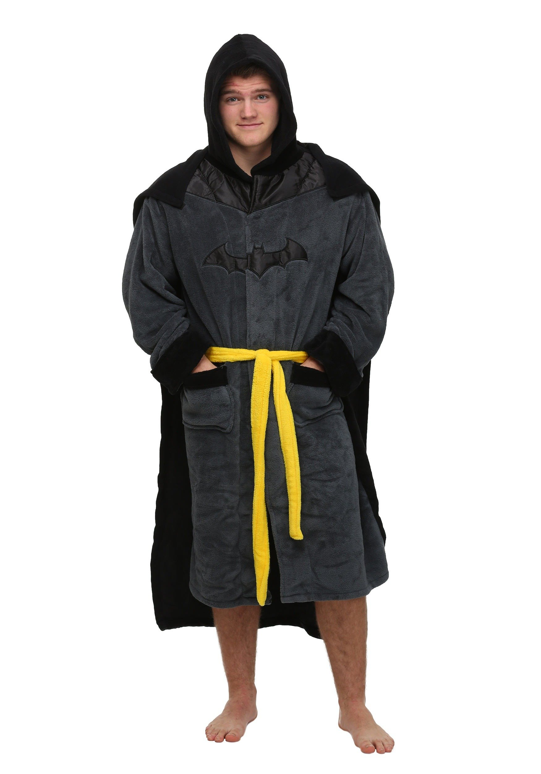 DC Comics Batman Mens Fleece Bathrobe & Swim Suit Cover Up with Cape