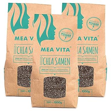 Las semillas de chía, MeaVita premium paquete 3er (3 x 1000 ...