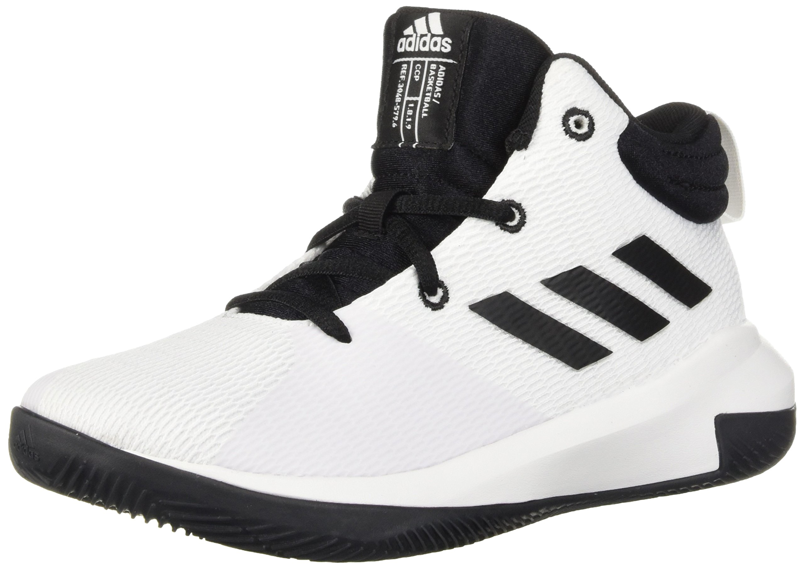 adidas Unisex Pro Elevate 2018 Basketball Shoe, Black/White, 2.5 M US Little Kid
