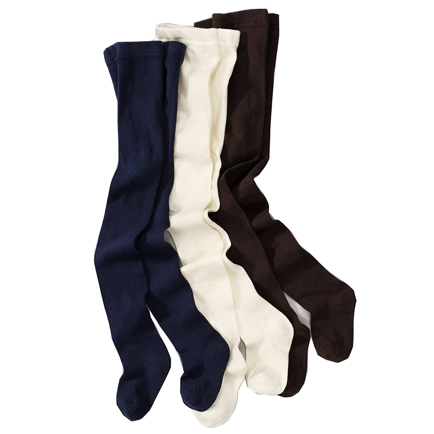 Wellyou Baby And Children's Tights - 3 Pack - Solid Colours, Ecru, Navy, Brown