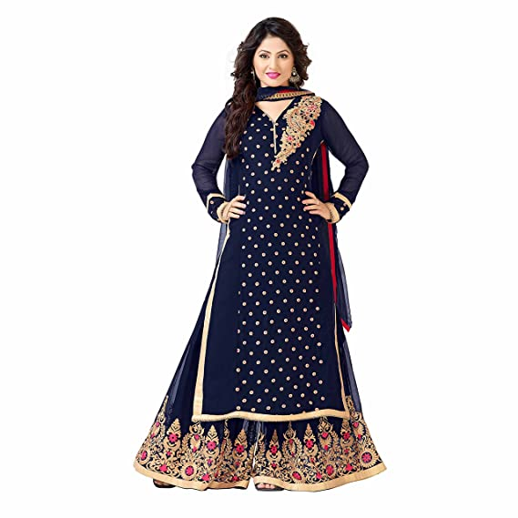 16dde6d0b6 YOYO Fashion Designer Zoya Blue Georgette Bollywood Palazzo Salwar Suit:  Amazon.in: Clothing & Accessories