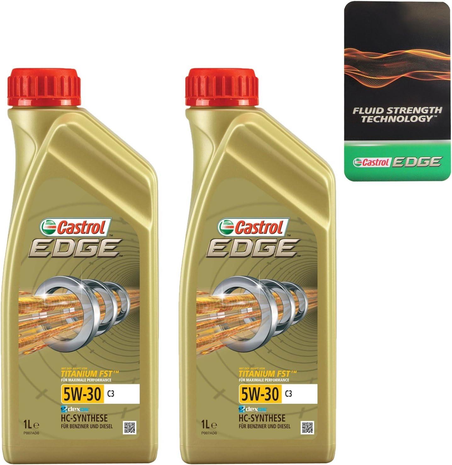 2x 1 L Liter Castrol Edge Fluid Titanium 5w 30 C3 Motoröl Inkl Castrol Ölwechselanhänger Auto