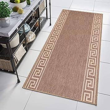 Tapiso Floorlux Teppich Läufer Meterware Flur Küche Wohnzimmer Indoor Sisal  Optik Modern Geometrisch Griechisch Braun Creme Brücke 80 x 400 cm