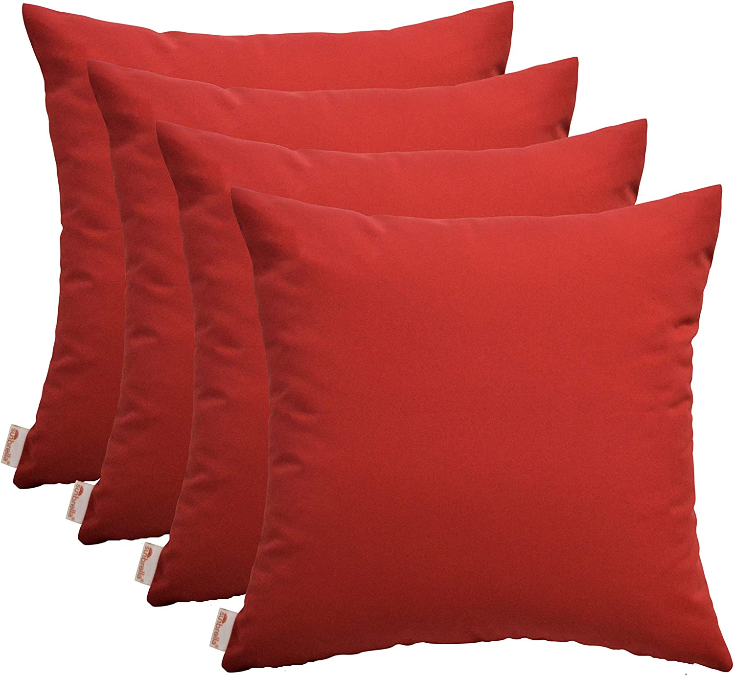 RSH D cor Set of 4 Indoor Outdoor Square Throw Pillows Sunbrella Canvas Jockey Red 17 x 17