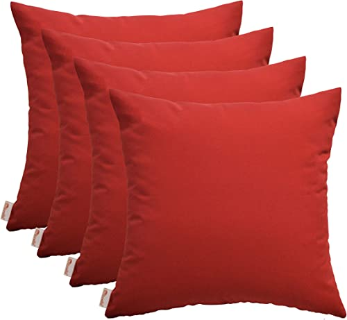 RSH D cor Set of 4 Indoor Outdoor Square Throw Pillows Sunbrella Canvas Jockey Red 24 x 24