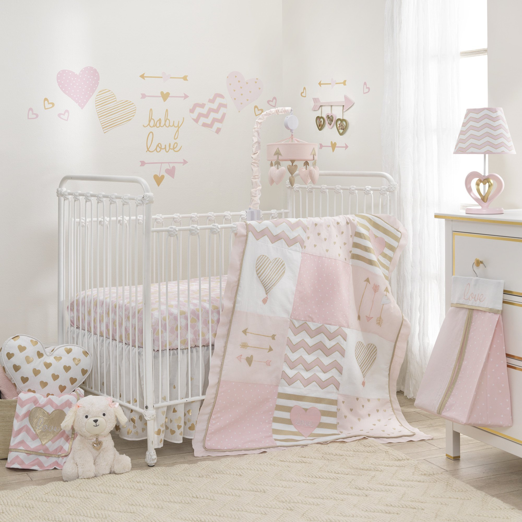 Lambs & Ivy Baby Love 7-Piece Baby Crib Bedding Set - Pink and Gold with Hearts