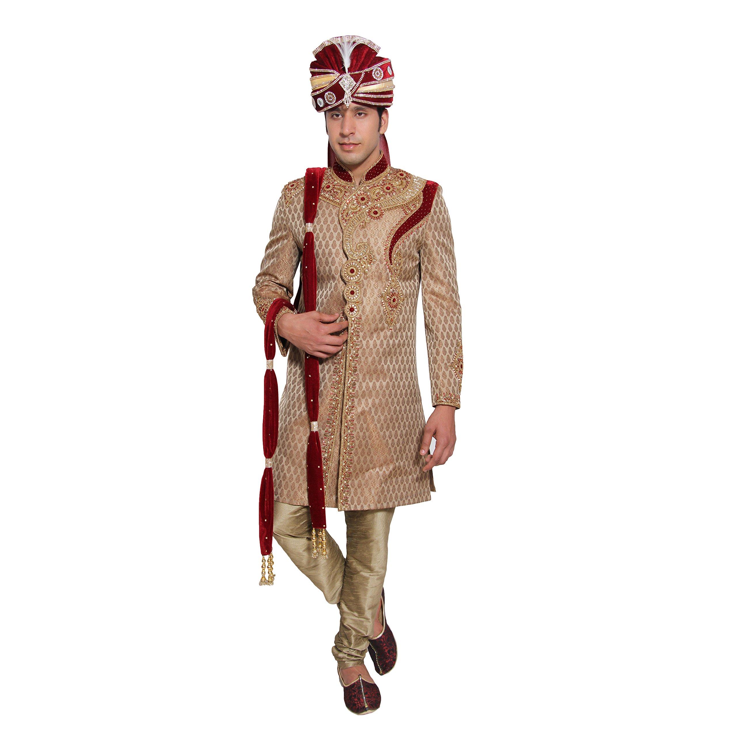 Embroidered Men's Kurta Sherwani Set Indian Wedding Party Wear