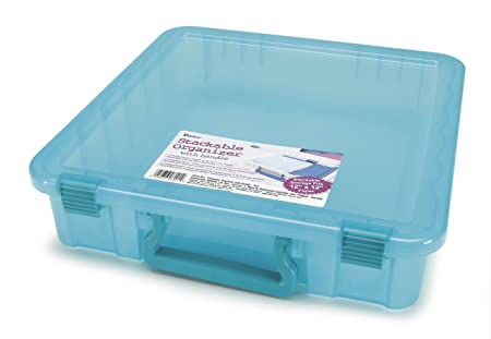 Amazon.com Darice 2025-401 Polypropylene Stackable Craft Paper Storage Organizer with Handle 14 by 14-Inch Transparent Teal  sc 1 st  Amazon.com & Amazon.com: Darice 2025-401 Polypropylene Stackable Craft Paper ...