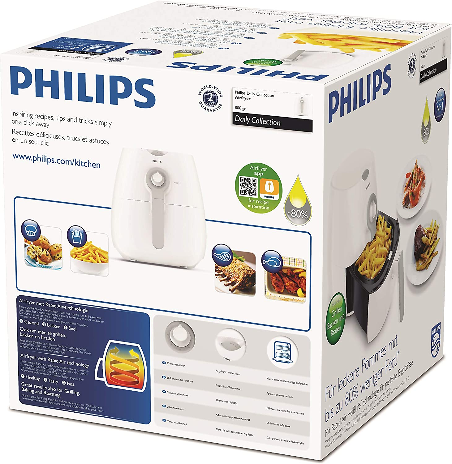 PHILIPS Airfryer Heißluftfritteuse HD9216//40 Daily Collection Fritteuse 1425Watt