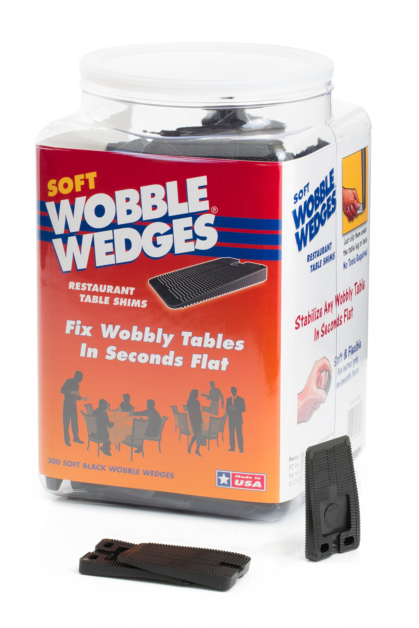Wobble Wedge - Soft Black - Restaurant Table Shims - 300 Piece Jar by WOBBLE WEDGES