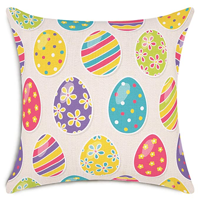 Smiry Easter Throw Pillow Covers Colored Eggs Easter Decorative Cushion Cover Home Decoration Cotton Linen Pillowcases 18 x 18 Inch