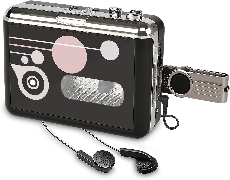 Rybozen Convertidor y Reproductor de Cinta casetes,Convertir Audio Cassette a MP3 Digital,Guardar en USB Flash Disk Directamente -No Requiere PC