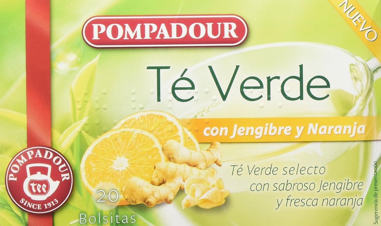 Pompadour Té Verde Jengibre y Naranja - Pack de 5 (Total: 100 ...