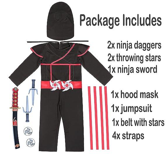 Amazon.com: Fairycece Ninja - Disfraz para niño 4T-12: Clothing