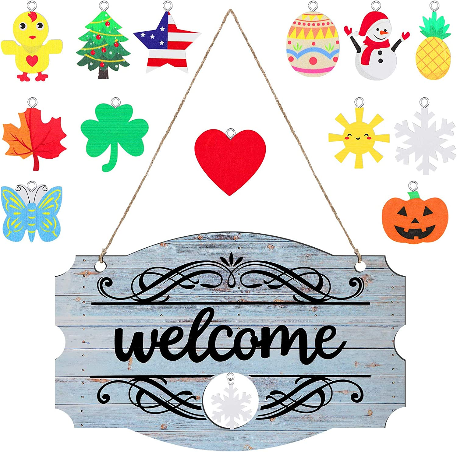 Interchangeable Seasonal Welcome Sign Front Door Decor Rustic Wood Welcome Sign Wall Hanging Porch Decoration for Fall Christmas Easter Valentines Thanksgiving, 14 x 9 Inch (White with Black Letters)