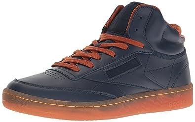 fe752607327b Reebok Men s Club C MID Cord Fashion Sneaker Collegiate Navy Ginger Paper  White
