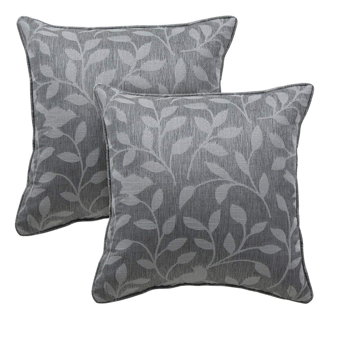 Brilliant Alexandra Cole Floral Leaf Lumbar Throw Pillows Covers 18X18 Square Decorative Pillowcases For Sofa Bed Set Of 2 Dark Grey Pabps2019 Chair Design Images Pabps2019Com