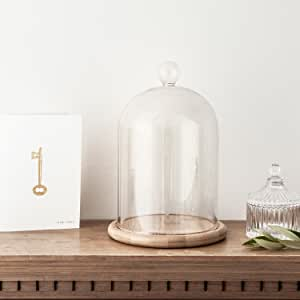 """Lights4fun, Inc. Glass Cloche Bell Jar Display Dome with Bamboo Base - 9"""" x 6""""."""