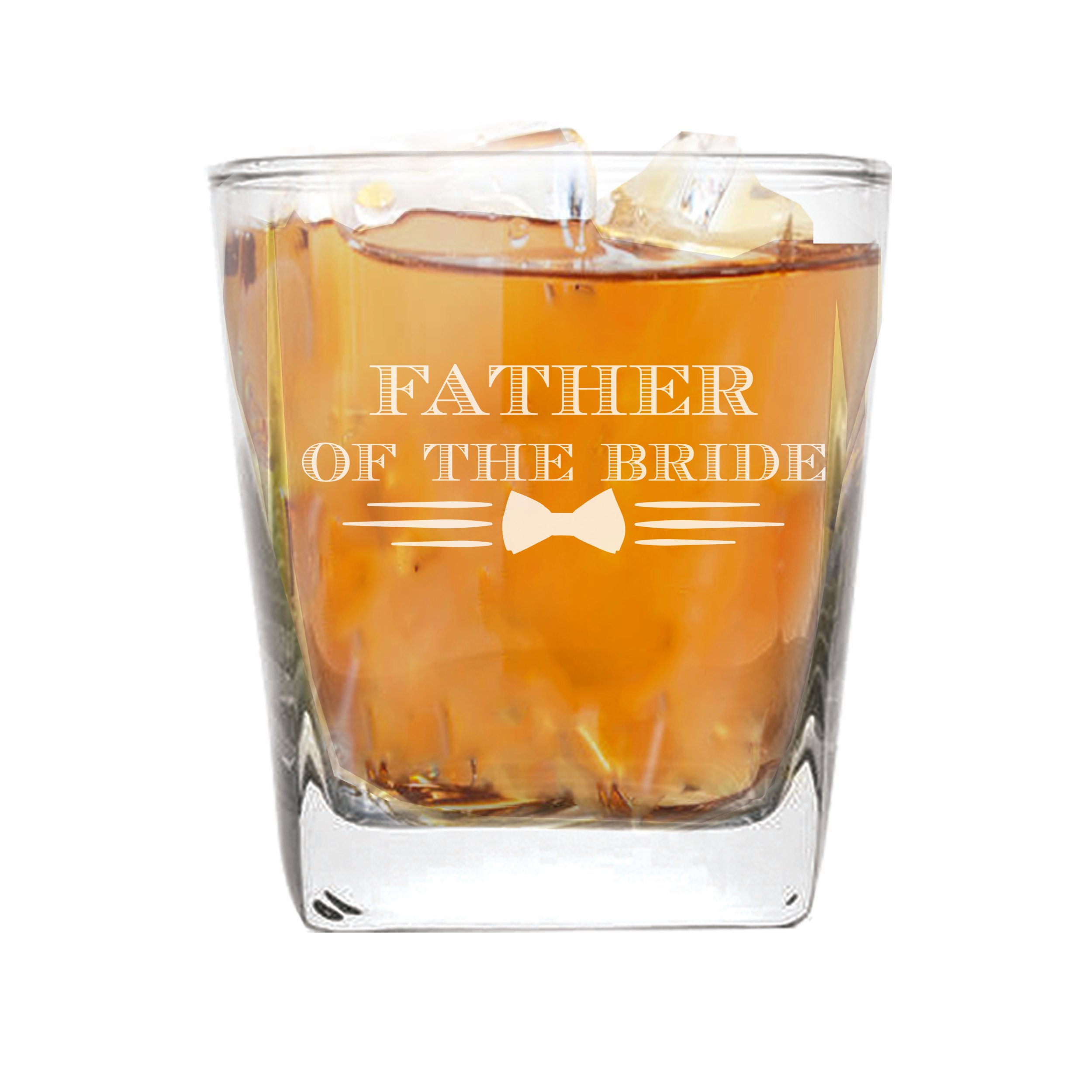 Whiskey Rocks Glasses for Bachelor Party, Weddings, Wedding Favors, Whisky Gifts (Bow Tie Style 9oz, Father of the Bride Glass)