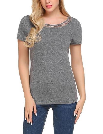 73e37a535f73 Yayado Women's Basic Cotton Round Neck Top Tees Drape Waist Blouse T-Shirts  Grey S