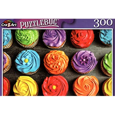 Tasty Colorful Cupcakes - 300 Pieces Jigsaw Puzzle: Toys & Games